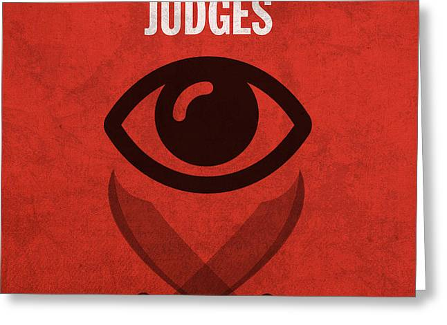 Judges Books of the Bible Series Old Testament Minimal Poster Art Number 7 Greeting Card by Design Turnpike
