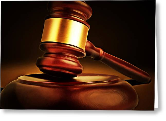 Court Room Greeting Cards - Judges Gavel 20150225 square Greeting Card by Wingsdomain Art and Photography