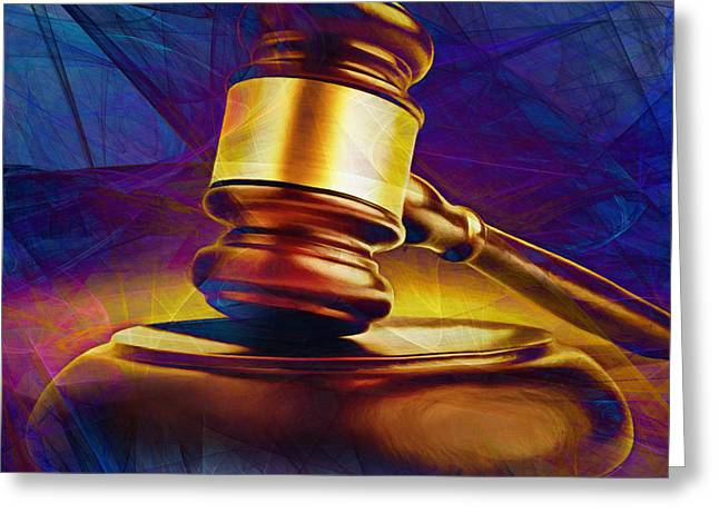 Court Room Greeting Cards - Judges Gavel 20150225 v2 square Greeting Card by Wingsdomain Art and Photography