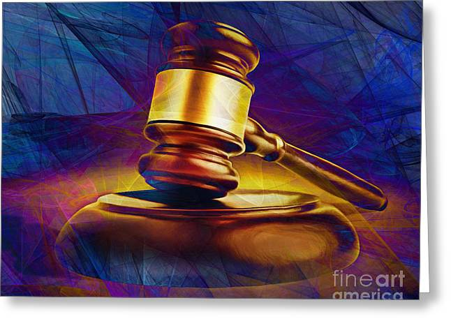 Court Room Greeting Cards - Judges Gavel 20150225 v2 Greeting Card by Wingsdomain Art and Photography
