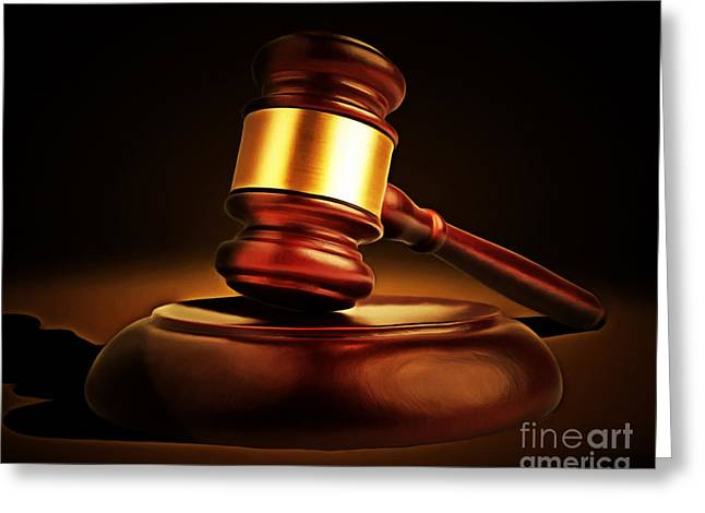Court Room Greeting Cards - Judges Gavel 20150225 Greeting Card by Wingsdomain Art and Photography