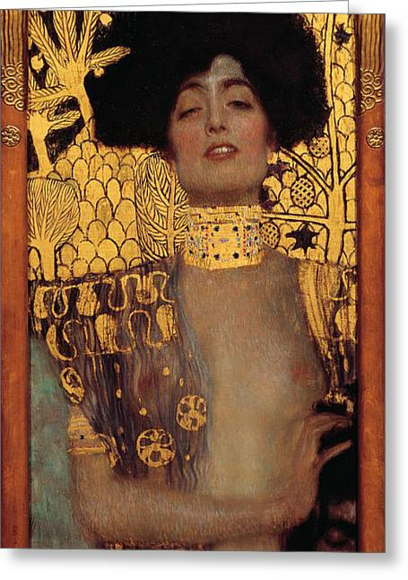 Woman In A Dress Greeting Cards - Judith Greeting Card by Gustive Klimt