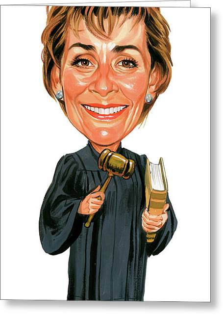 Famous Person Paintings Greeting Cards - Judith Sheindlin as Judge Judy Greeting Card by Art