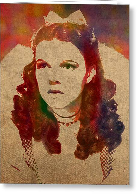 Gale Greeting Cards - Judy Garland as Dorothy Gale in Wizard of Oz Watercolor Portrait on Worn Distressed Canvas Greeting Card by Design Turnpike