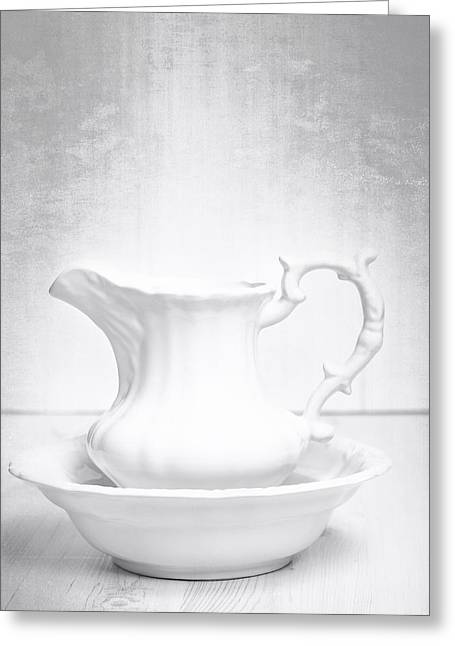 White Greeting Cards - Jug And Bowl Greeting Card by Amanda And Christopher Elwell
