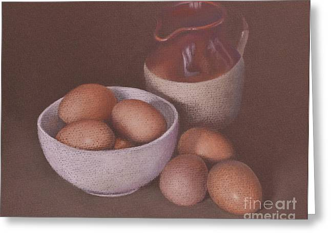 Jugs Pastels Greeting Cards - Jug and Eggs Greeting Card by Alan Stevens