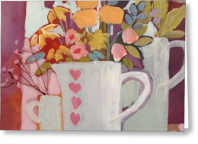 Apricot Greeting Cards - Jug of Flowers Greeting Card by Annabel Burton