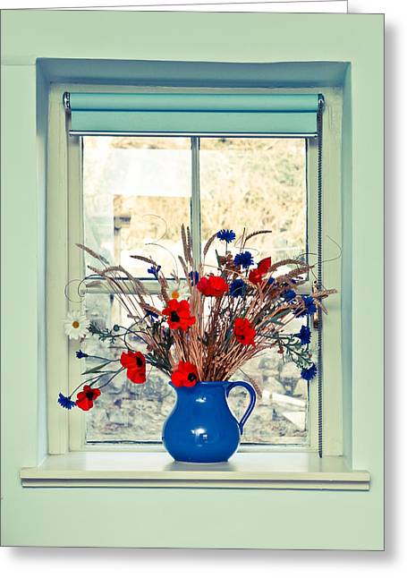 Blinds Greeting Cards - Jug of flowers Greeting Card by Tom Gowanlock