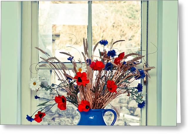 Jug of flowers Greeting Card by Tom Gowanlock