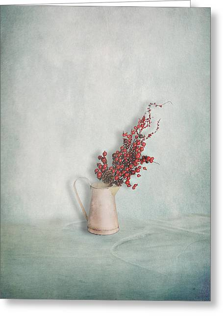 Interior Still Life Photographs Greeting Cards - Jug with Red Berry Branch  Greeting Card by Artskratches