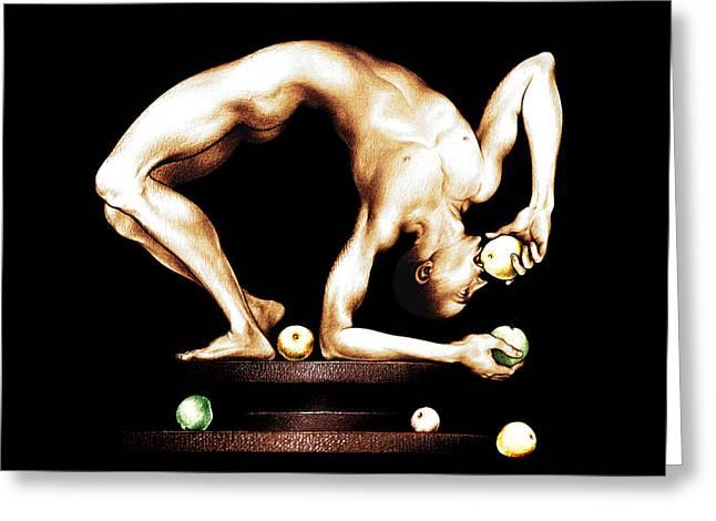 Juggler Greeting Card by Alex Tavshunsky
