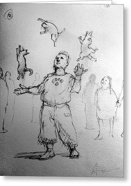 Juggler Greeting Card by H James Hoff