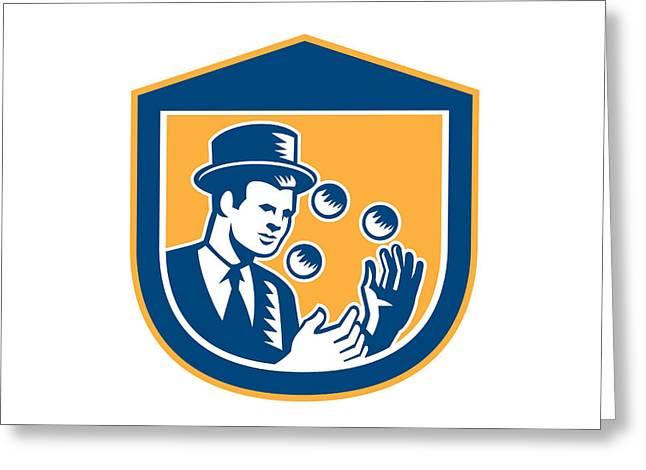 Juggling Greeting Cards - Juggler Juggling Balls Shield Woodcut Greeting Card by Aloysius Patrimonio
