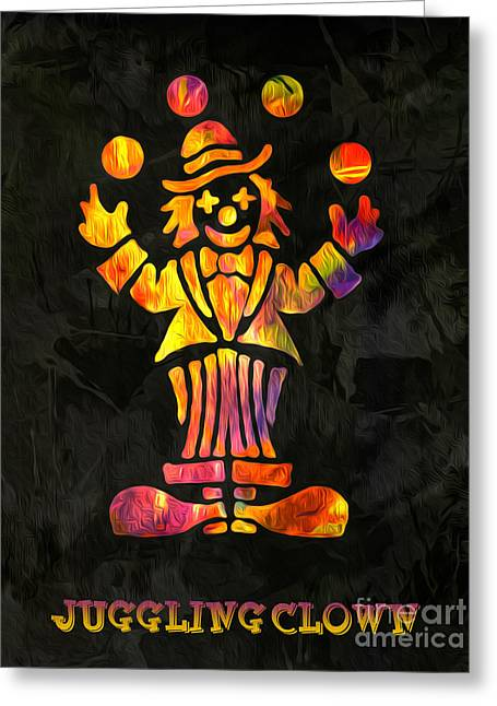 Digital Media Greeting Cards - Juggling Clown by Kaye Menner Greeting Card by Kaye Menner