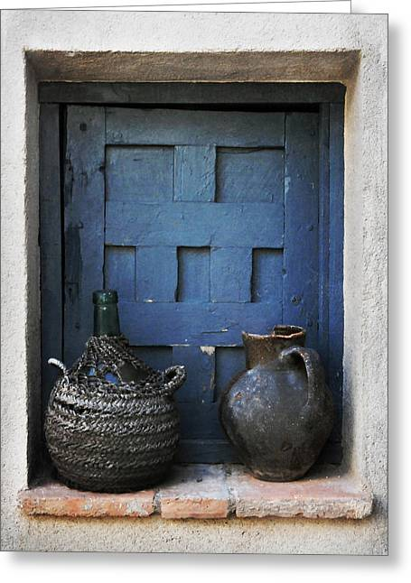 Water Jug Greeting Cards - Jugs and Blue Window Greeting Card by Angela Bonilla
