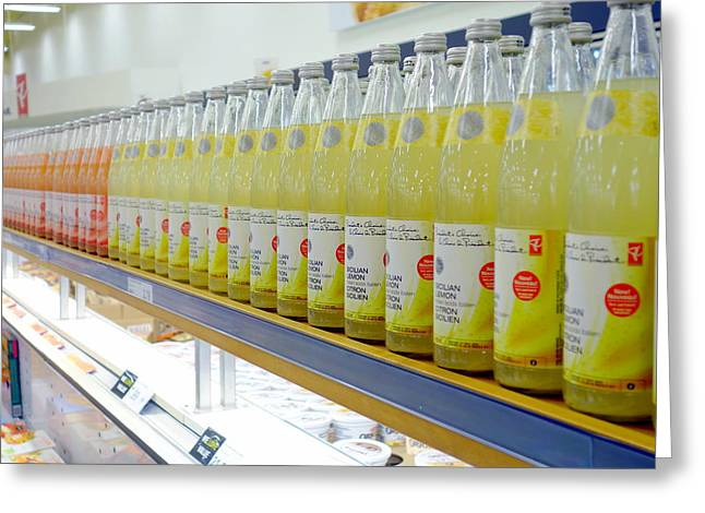Label Greeting Cards - Juices Greeting Card by Valentino Visentini