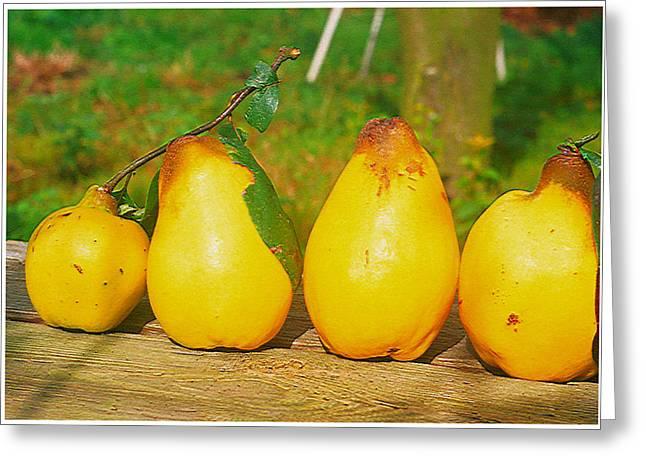 Season Greeting Cards - Juicy flavorful pears Greeting Card by Lanjee Chee