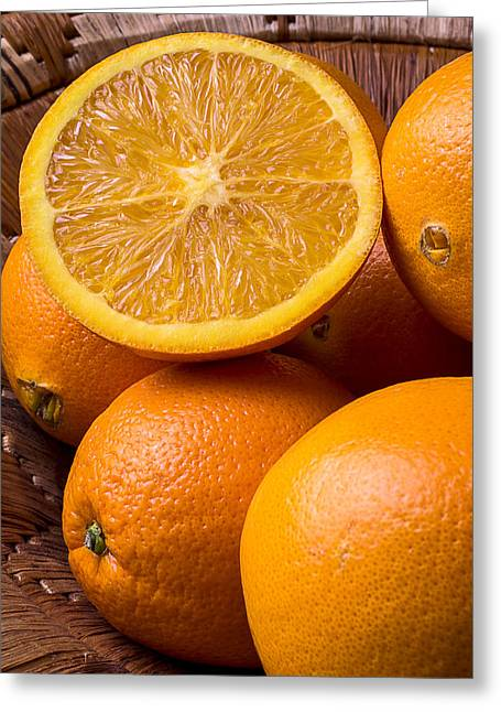 Spheres Greeting Cards - Juicy Orange Greeting Card by Garry Gay