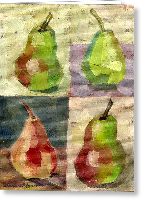 Juicy Pears Four Square Greeting Card by Shalece Elynne