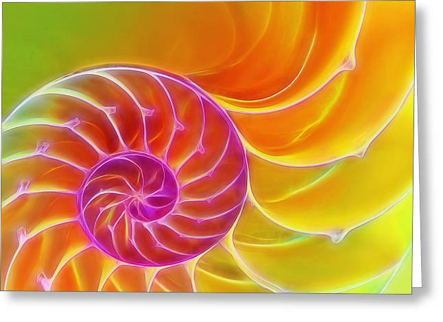 Surreal Geometric Greeting Cards - Juicy Spiral Greeting Card by Gill Billington