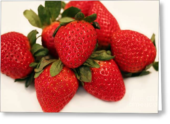 Tangy Photographs Greeting Cards - Juicy Strawberries Greeting Card by Barbara Griffin