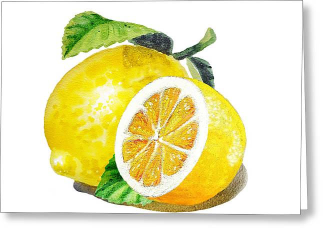 Illustration Greeting Cards - Juicy Tasty Lemon Greeting Card by Irina Sztukowski
