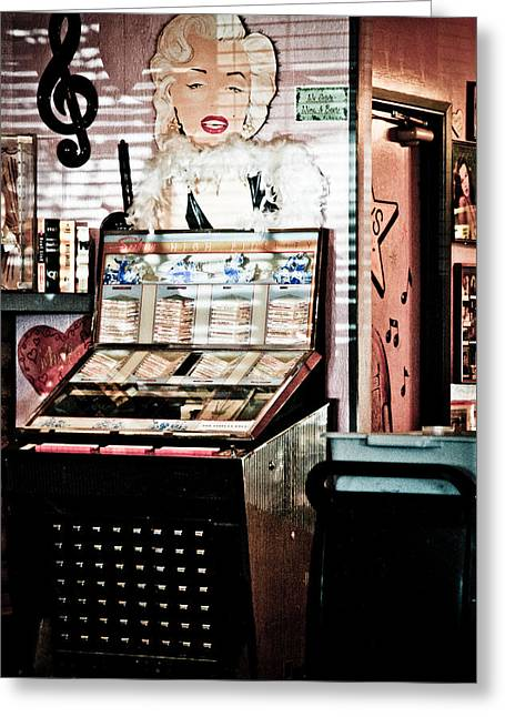 Peggy Sues Diner Greeting Cards - Juke Box Greeting Card by Ellen and Udo Klinkel