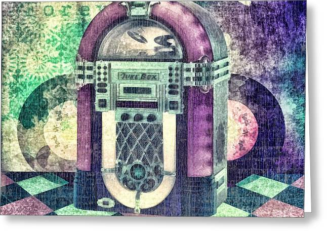 Oldies Greeting Cards - Juke Box Greeting Card by Mo T