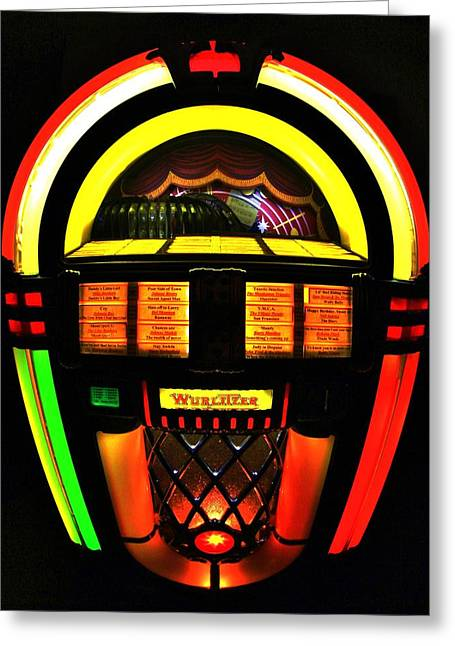 60s Music Greeting Cards - Jukebox Greeting Card by Benjamin Yeager