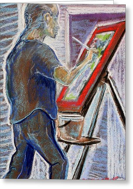 Painter Pastels Greeting Cards - Jules at the Easel  Greeting Card by Tim  Swagerle