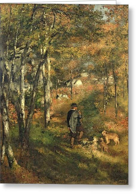 Jules Le Coeur In The Forest Of Fontainebleau, 1866 Greeting Card by Pierre Auguste Renoir