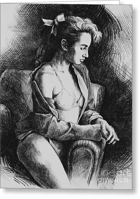 Seated Woman Greeting Card Greeting Cards - Julia 2 Greeting Card by Yvonne Nowicka-Wright