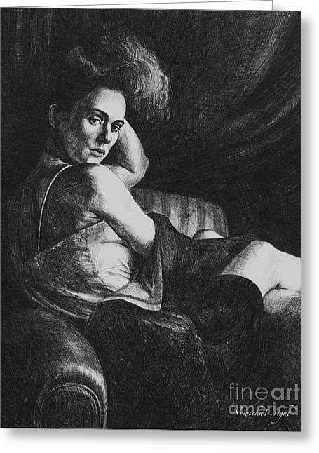 Seated Woman Greeting Card Greeting Cards - Julia Greeting Card by Yvonne Nowicka-Wright