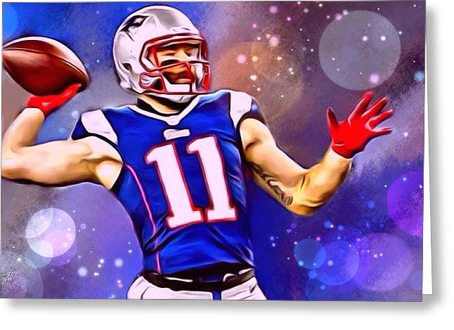 Divisional Greeting Cards - Julian Edelman AFC Playoff Pass Greeting Card by Scott Wallace