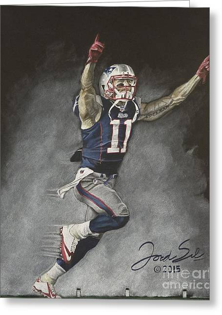 Football Pastels Greeting Cards - Julian Edelman New England Patriots Greeting Card by Jordan Spector
