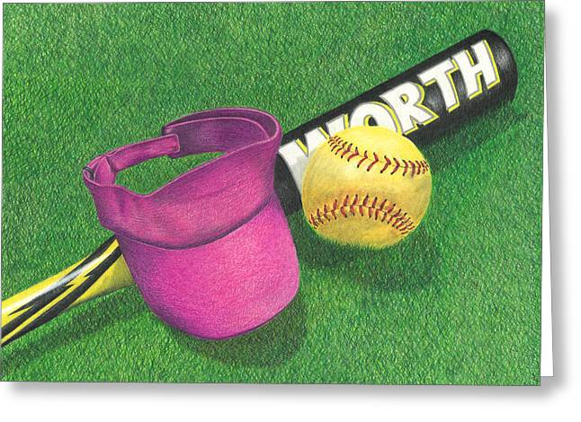 Softball Drawings Greeting Cards - Julias Game Greeting Card by Troy Levesque