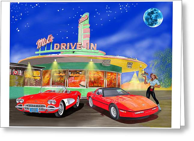 Mels Drive In Greeting Cards - Julies Corvettes Greeting Card by Jack Pumphrey