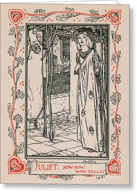 Border Drawings Greeting Cards - Juliet from Romeo and Juliet Greeting Card by Robert Anning Bell