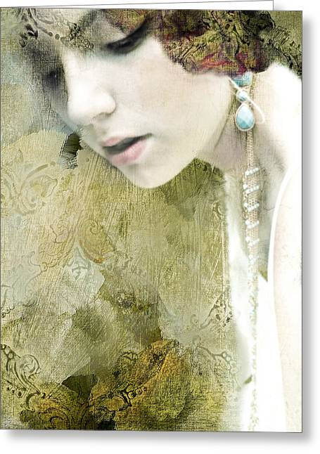 Gold Earrings Greeting Cards - Juliet Greeting Card by Paula Cortese