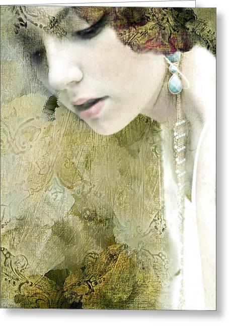 Gold Earrings Digital Art Greeting Cards - Juliet Greeting Card by Paula Cortese