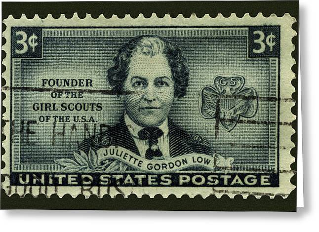 Juliette Low Greeting Cards - Juliette Gordon Low Postage Stamp Greeting Card by Phil Cardamone