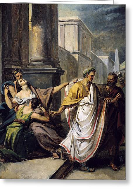 Ignore Greeting Cards - Julius Caesar 100-44 Bc On His Way To The Senate On The Ides Of March Oil On Canvas Study Greeting Card by Abel de Pujol