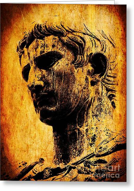 Roman Statue Greeting Cards - Julius Caesar  Greeting Card by Mike Grubb