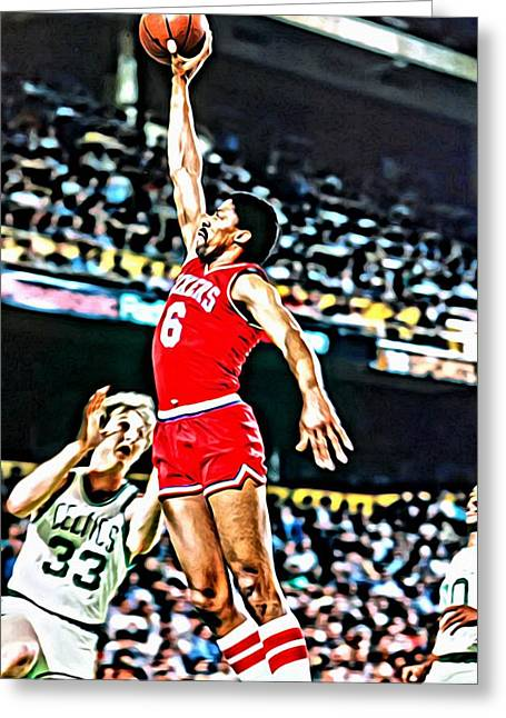 Dr J Greeting Cards - Julius Erving Greeting Card by Florian Rodarte