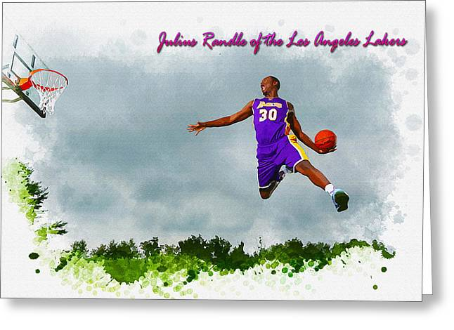 Slam Greeting Cards - Julius Randle of the Los Angeles Lakers Greeting Card by Don Kuing