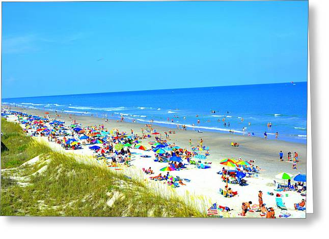 Blue Green Wave Greeting Cards - July 4th at the Beach Greeting Card by Kathy Barney