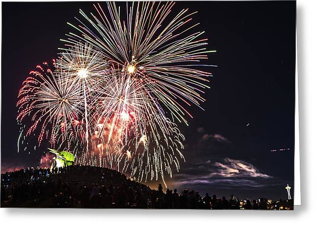 Ly Greeting Cards - July 4th Fireworks Greeting Card by Hisao Mogi