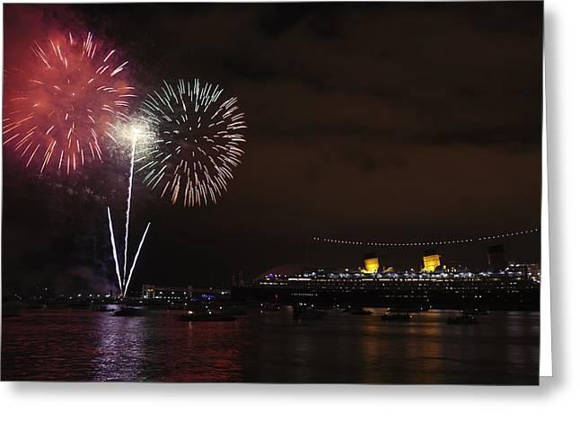 July 4th Fireworks - Long Beach California Greeting Card by Ram Vasudev