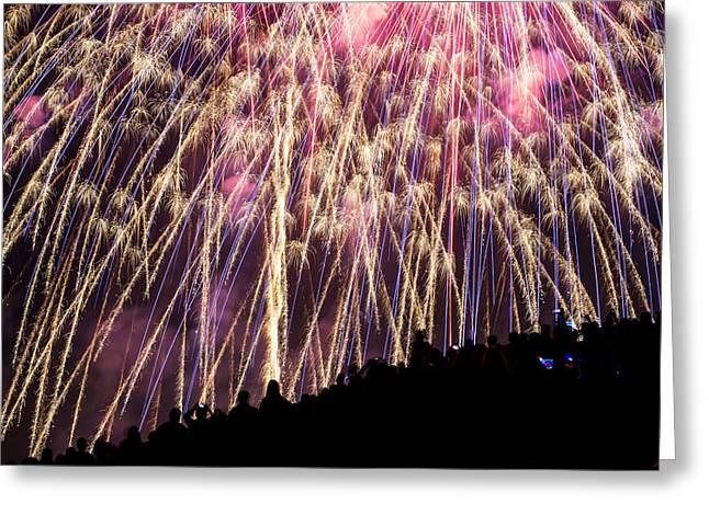 Fireworks. Kites Greeting Cards - July 4th Kite Hill Greeting Card by Yoshiki Nakamura