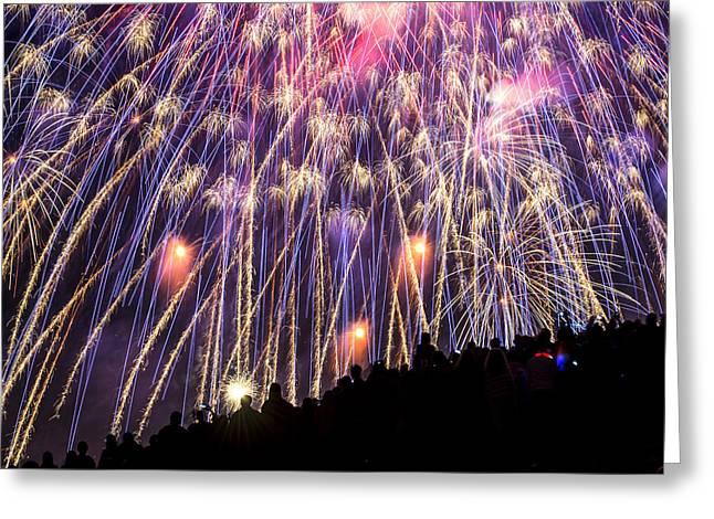 Fireworks. Kites Greeting Cards - July 4th Spectators Greeting Card by Yoshiki Nakamura